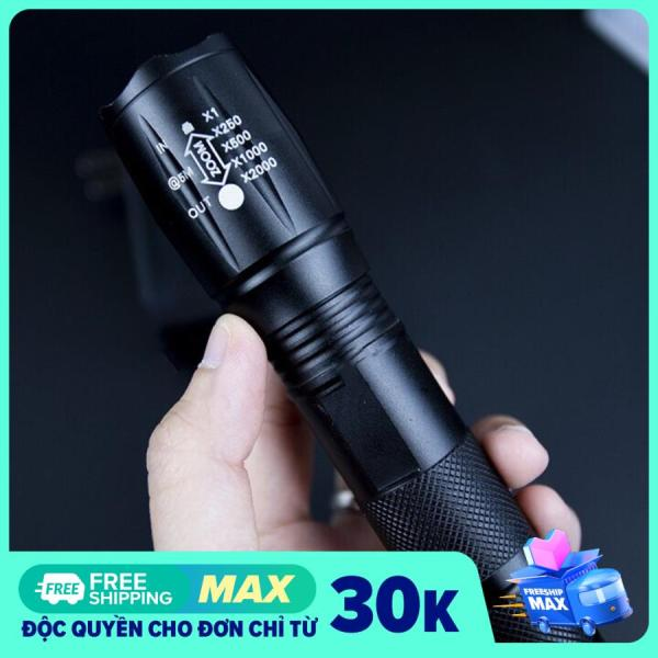 Đèn Pin siêu sáng XML-T6, đèn led cầm tay siêu sáng 200-300m đèn pin kèm phụ kiện fullbox