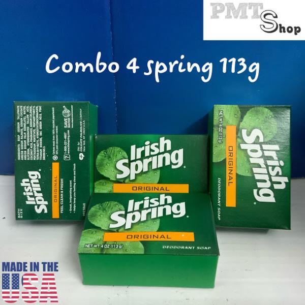 Combo 4 cục xà bông Irish Spring Original size lớn 113g x 4 diệt khuẩn, khử mùi - Mỹ