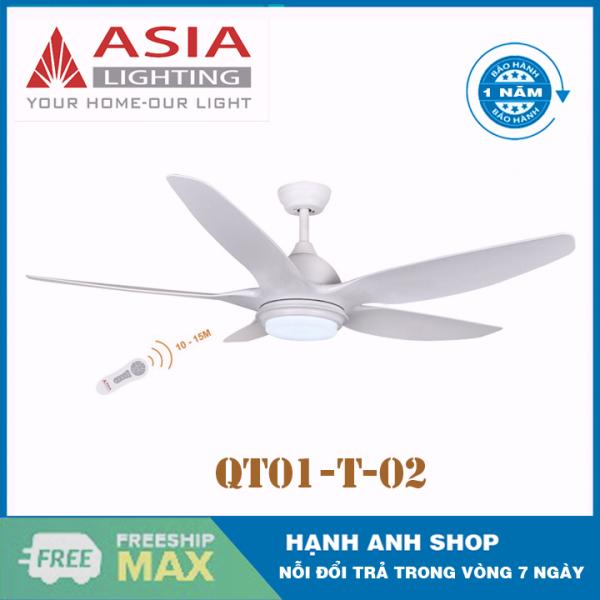 [Trả góp 0%][ Hàng Chính Hãng ] Quạt trần 5 cánh ASIA model: QT02- Đèn Đổi 3 Chế Độ Mầu - Bảo Hành 12 Tháng
