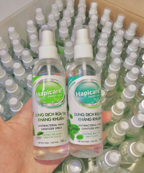 Chai xịt khuẩn mini HapiCare+ (100ml) / Dung dịch rửa tay sát khuẩn / Nước khử khuẩn / Xịt rửa tay khô