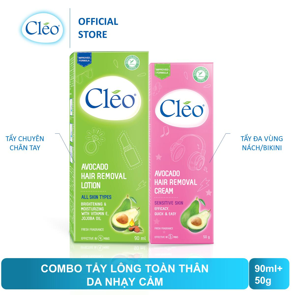 Bộ đôi Kem tẩy lông Cleo 50g da nhạy cảm và Lotion tẩy lông 90ml - ĐH Cleo Từ 149k Tặng 1 Sữa Dưỡng nhập khẩu