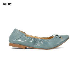 Giày Búp Bê Mũi Nhọn AD by Sullily màu xanh mang êm chân
