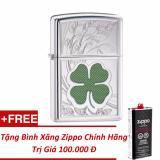Giá Bán Rẻ Nhất Bật Lửa Zippo Cỏ 4 La May Mắn Tặng Binh Xăng Zippo Chinh Hang