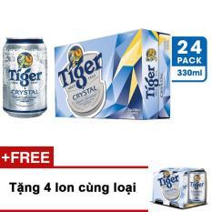 Bộ 2 thùng 24 lon bia Tiger Crystal 330 ml + Tặng 4 lon cùng loại