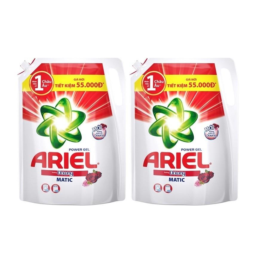 Bộ 2 túi nước giặt Ariel Matic Downy gel đậm đặc 2.4kg