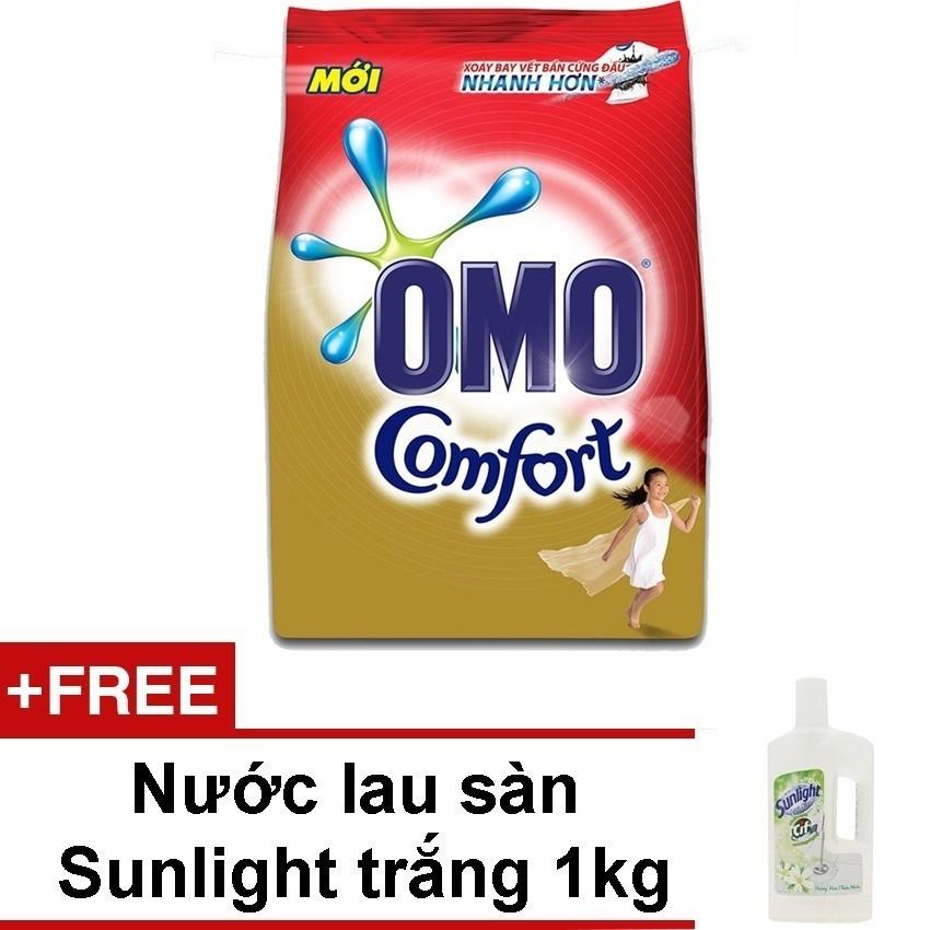 Bột Giặt Hương Nước Xả Vải Omo Comfort Tinh Dầu Thơm 5.5kg + Tặng Nước Lau Sàn Sunlight 1kg (Trắng) Giá Quá Tốt Phải Mua Ngay
