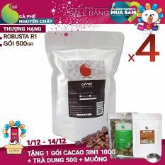 Giá Bán Ca Phe Hạt Robusta Nguyen Chất 100 Loại 1 Light Coffee 4 Goi 2Kg Light Coffee Nguyên
