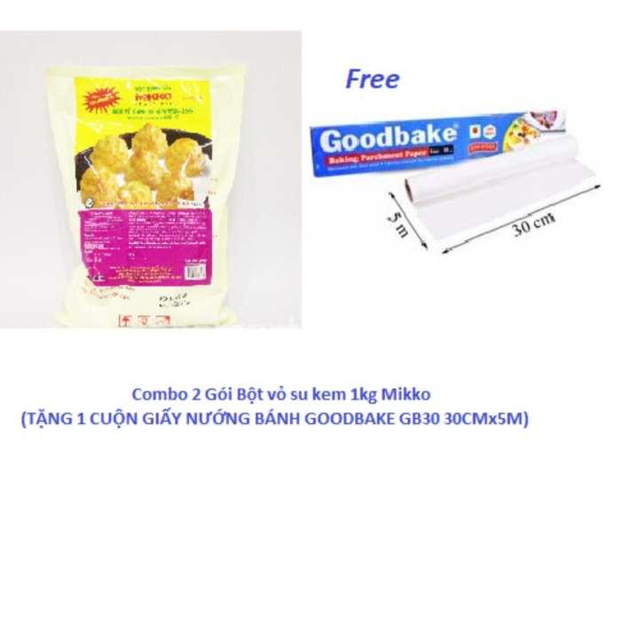 Combo 2 Gói Bột vỏ su kem 1kg Mikko (TẶNG 1 CUỘN GIẤY NƯỚNG BÁNH GOODBAKE GB30 30CMx5M)