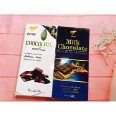 Combo 2 thanh Chocolate đắng 100% cacao + Sữa 40% cacao  200g Figo