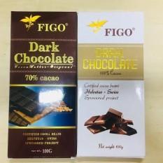 Combo 2 thanh Socola đen 100% và Socola 70% cacao Figo 200g