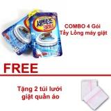 Combo 4 Goi Bột Vệ Sinh Lam Sạch Lồng May Giặt Han Quốc Tặng 2 Tui Lưới Giặt Quần Ao Rẻ