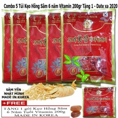 Bán Combo 5 Kẹo Hồng Sam Vitamin 6 Năm Tuổi 200Gr Tặng 1 Cung Loại Rẻ Việt Nam