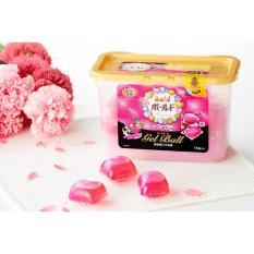 Ôn Tập Trên Hộp 18 Vien Nước Giặt Xả Gel Ball Hương Hoa Sản Xuất Tại Nhật Bản Hồng