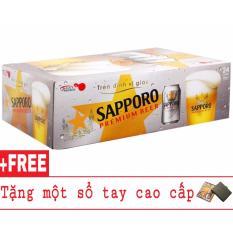 Thùng 24 lon bia Sapporo 330ml + Tặng 1 sổ tay cao cấp
