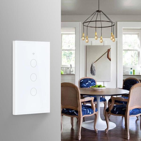 Công tắc thông minh Wifi mặt Chữ Nhật 3 nút trắng(App Tuya, SmartLife), Hổ trợ Alexa, Google Home, IFTTT