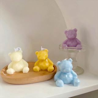 Nến Đèn Cầy trang trí decor C18 hình Gấu để bàn an toàn cao cấp phong cách Hàn Quốc giúp thư giãn thumbnail