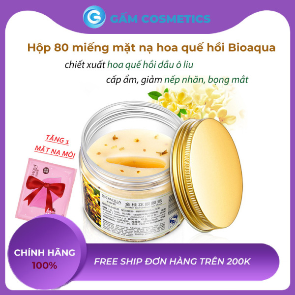 [Hủ 80 Miếng] Mặt nạ dưỡng mắt hoa quế hồi Bioaqua Eye Mask giảm nếp nhăn chống lão hóa hàng nội địa Trung chính hãng - Gấm Cosmetics