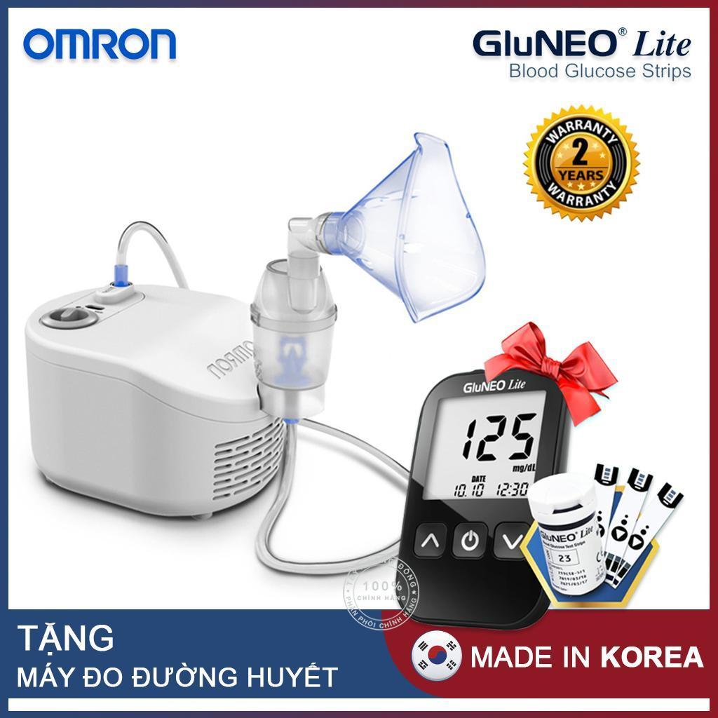 Máy xông khí dung Omron NE-C101 + Tặng máy đo đường huyết Gluneo Lite Hàn Quốc nhập khẩu