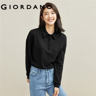 GIORDANO Women Polo Shirts Ribbed Cuffs Loose Design Dropped-Shoulder Polo Shirts Solid Color Classic Collar Polo Tops 05311788 thumbnail