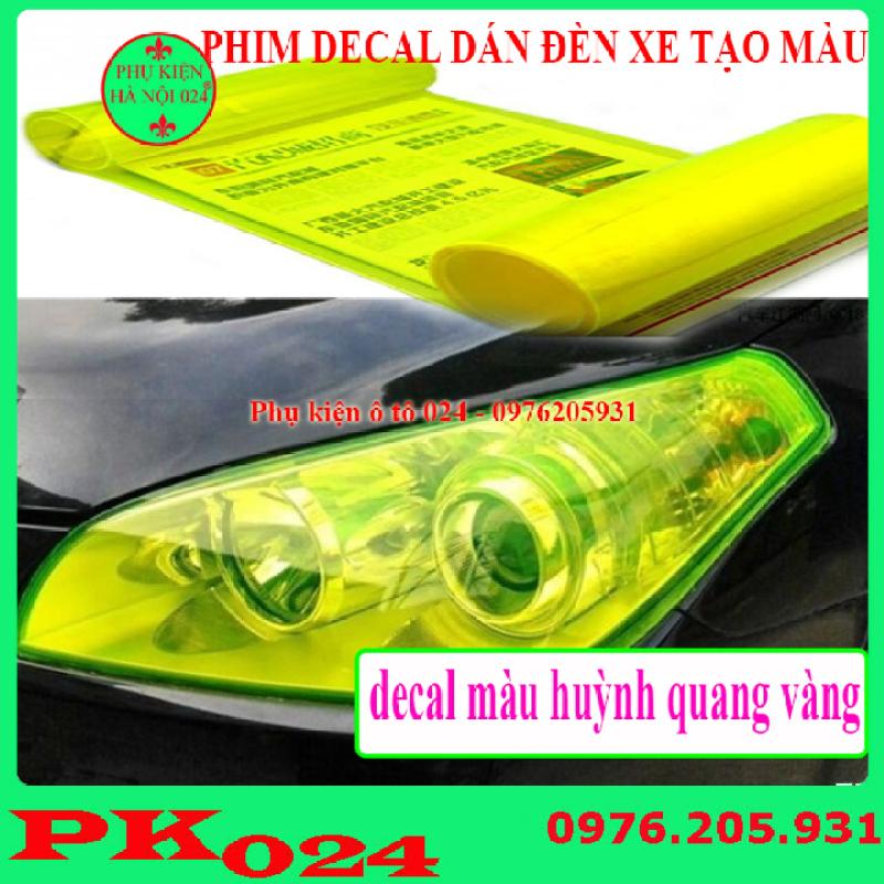 Phim Đề Can Dán Đèn Xe Tạo Màu Sắc Chống Xước 30x60cm - Huỳnh Quang Vàng