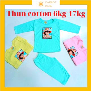 Đồ bộ dài tay cho bé gái sơ sinh đến 4 tuổi vải thun cotton 6kg đến 20kg hàng Việt Nam thấm hút mồ hôi thoáng mát chống muỗi côn trùng, giao màu ngẫu nhiên CARROT BABY SHOP