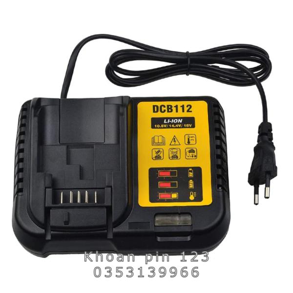 Bộ đế sạc lithium DCB112 dùng cho pin Dewalt 12V/10.8V/14.4V/18V/20V