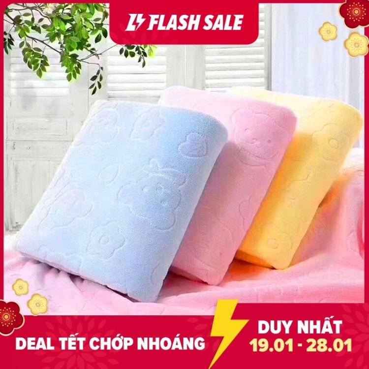 [MÀU NGẪU NHIÊN] Khăn Tắm Khổ Lớn Xuất Nhật Siêu Mềm Họa Tiết In Chìm (1m4*70cm) Thấm hút tốt và nhanh khô - Giới hạn 30 sản phẩm/khách hàng, khăn tắm rẻ