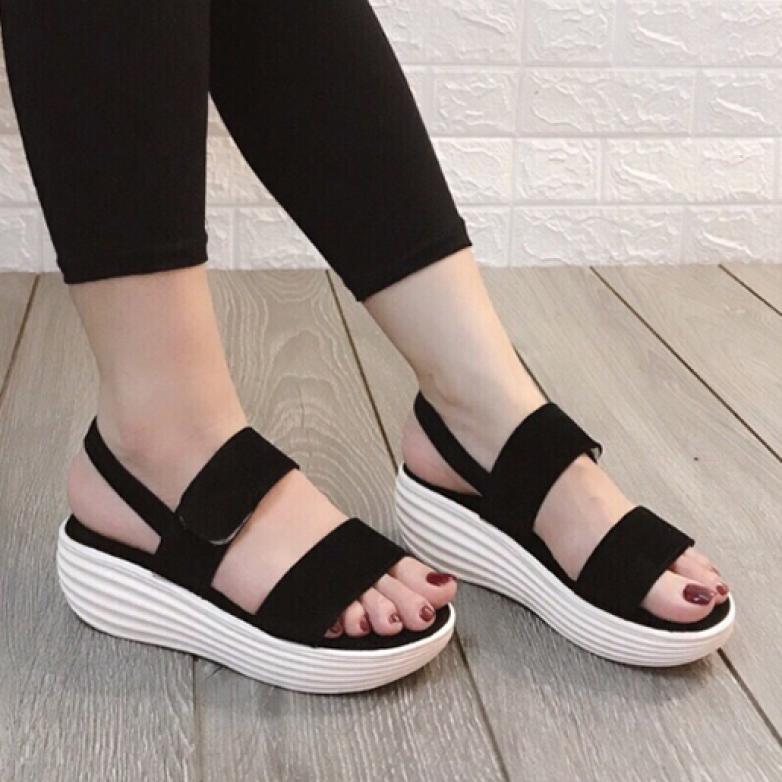 (Bảo hành 12 tháng) Giày sandal đế xuồng nữ 2 quai ngang đế bánh mì thời trang - Giày sandal đế đúc PU mềm cao 5cm - Giày nữ Da Nhung mềm mịn 2 màu Đen và Hồng Da - Linus LN140 giá rẻ