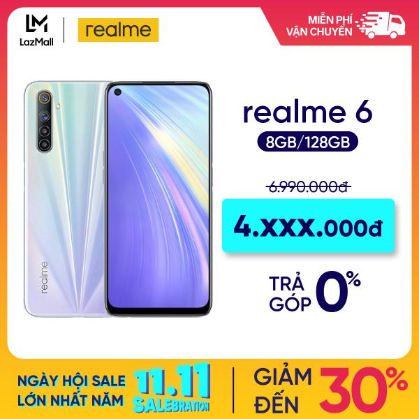 TRẢ GÓP 0% Điện thoại Realme 6 (8GB/128GB) - Màn hình Full HD+ 6.5 4 Camera sau64 MP Quay phim 4K Camera trước 16 MP Mediatek Helio G90T Pin 4300 mAh - Hàng chính hãng bảo hành 12 tháng