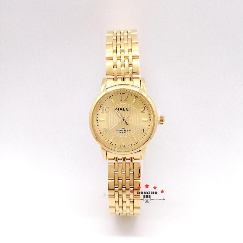 Đồng hồ nữ HALEI dây kim loại thời thượng ( HL484 dây vàng mặt vàng ) - TẶNG 1 vòng tỳ hưu phong thuỷ