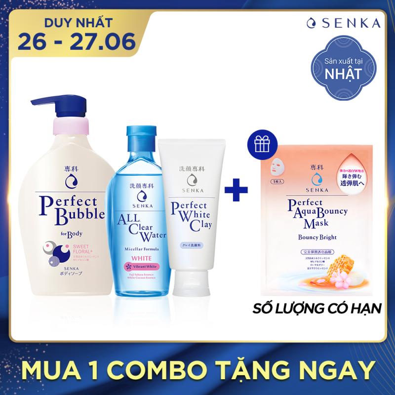 Bộ Senka làm sạch dưỡng trắng và dưỡng ẩm toàn thân nhập khẩu