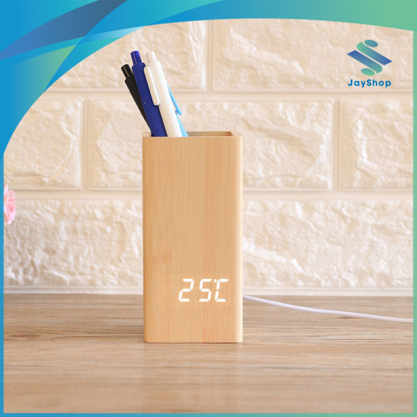 Đồng hồ LED để bàn kiêm đựng bút viết, báo thức, đo nhiệt độ bán chạy