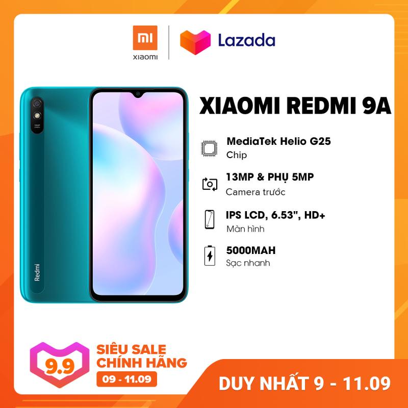 [SIÊU SALE 9-11.9] CHỈ 1,790K | Điện thoại Xiaomi Redmi 9A (2GB/32GB) - Chip Mediatek G25 8 nhân Pin 5,000mAH Camera 13MP  Bảo hành chính hãng 18 tháng