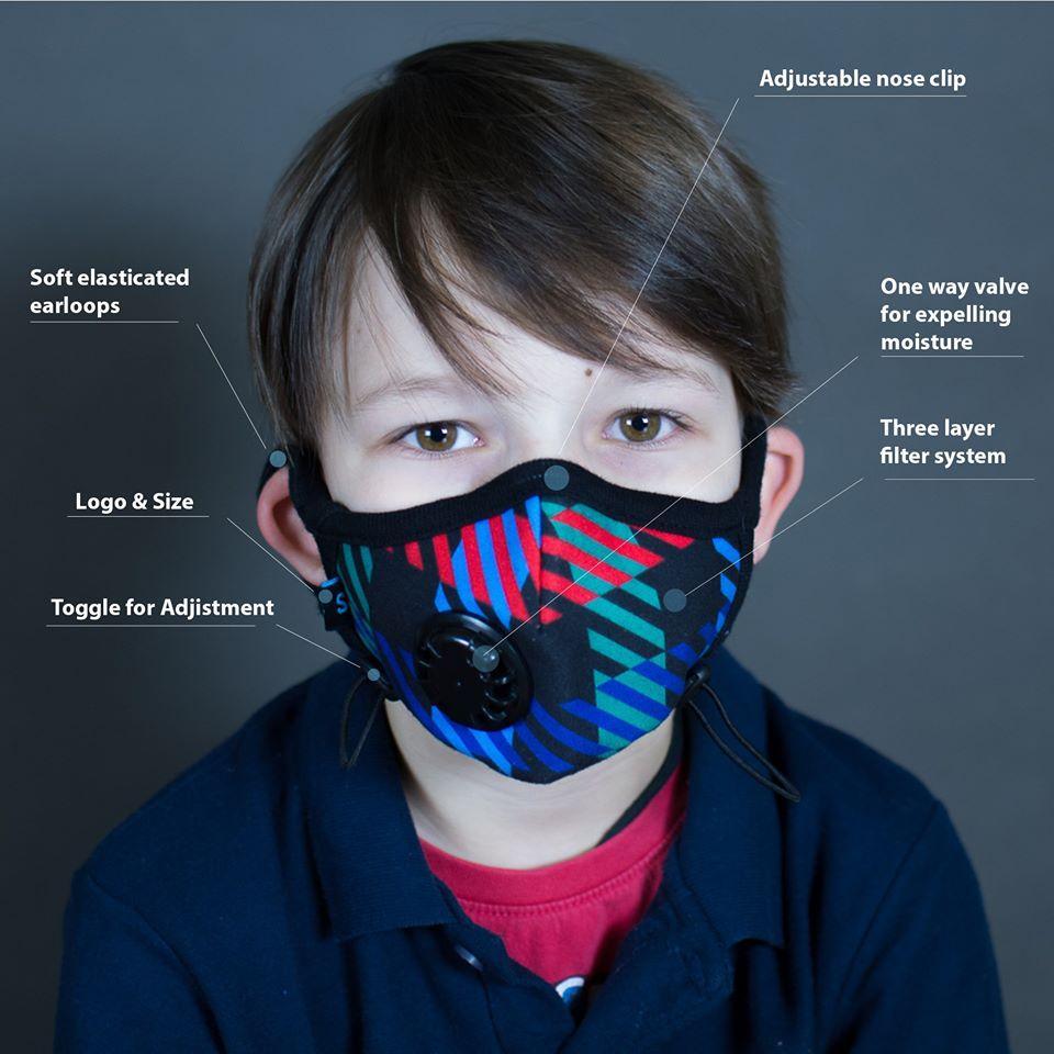 Khẩu trang Cambridge Mask Pro N99 cho trẻ từ 5 đến 10 tuổi Chống Bụi siêu mịn PM2.5 Ô nhiễm không khí nhập khẩu