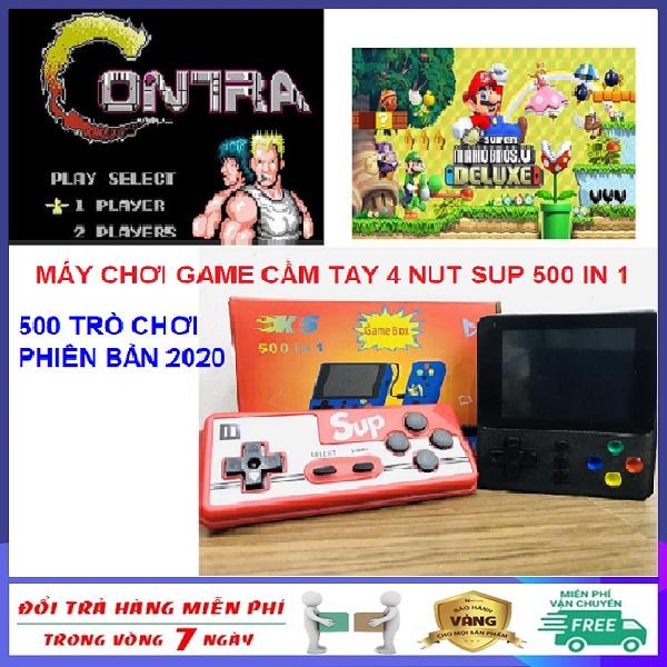 Máy chơi game cầm tay mini 4 nút Sup 500 in 1 cao cấp phiên bản mới nhất năm 2020 hỗ trợ 2 người chơi - Máy chơi game 4 nút bản nâng cấp Sup 400 tròn chơi,ps2,ps3,ps4,psp,nintendo switch,minecraft,free fire, pubg, liên quân Tích Hợp 500 Trò Chơi