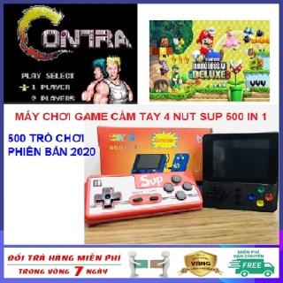 Máy chơi game cầm tay mini 4 nút Sup 500 in 1 cao cấp phiên bản mới nhất năm 2020 hỗ trợ 2 người chơi - Máy chơi game 4 nút bản nâng cấp Sup 400 tròn chơi,ps2,ps3,ps4,psp,nintendo switch,minecraft,free fire, pubg, liên quân Tích Hợp 500 Trò Chơi thumbnail