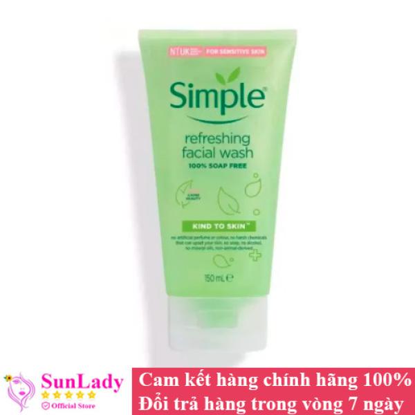 Sữa Rửa Mặt Dịu Nhẹ Dạng Gel Simple Refreshing 150ml chính hãng - Sữa rữa mặt chống lão hóa tri mụn Simple nhập khẩu
