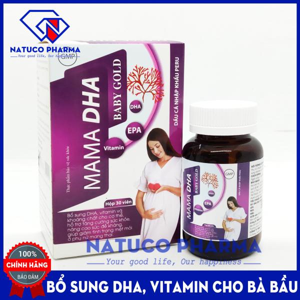 Viên uống vitamin tổng hợp cho bà bầu MAMA DHA BABY GOLD - bổ sung DHA, vitamin và khoáng chất cần thiết cho phụ nữ mang thai giúp giảm mệt mỏi tăng cường sức khỏe - Hộp 30 viên Hàng chính hãng
