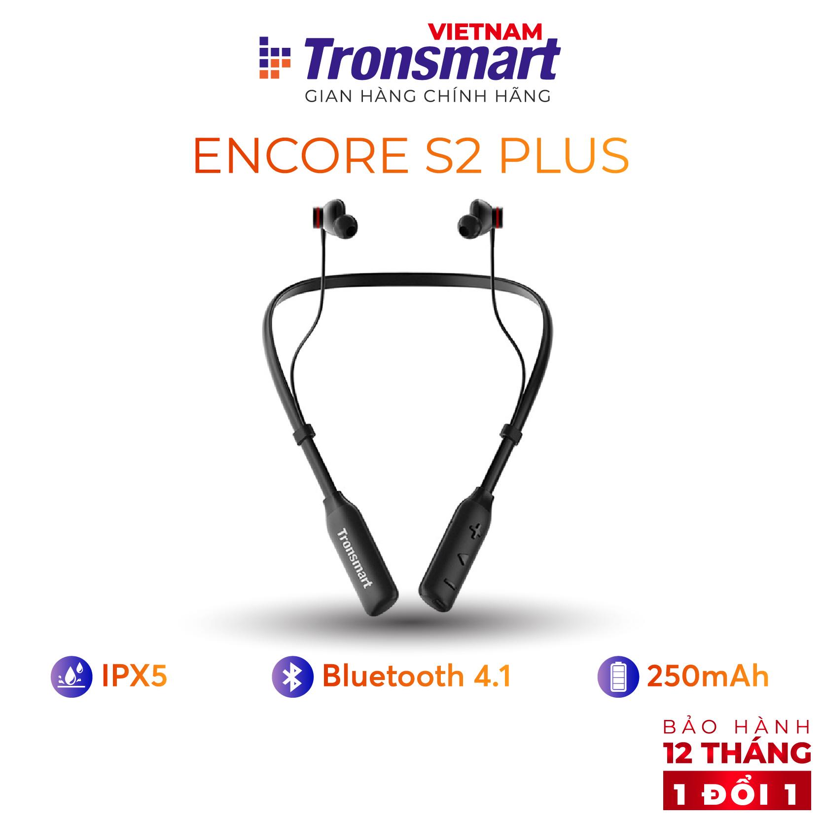 [VOUCHER 7% tối đa 500K] Tai nghe Bluetooth thể thao 5.0 Tronsmart Encore S2 Plus Khử tiếng ồn và có míc đàm thoại Tiêu chuẩn kháng bụi chống nước IPX45 và mồ hôi Thời gian sử dụng lên tới 24h thích hợp tập thể dục thể thao