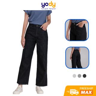 Quần jean nữ lưng cao, quần bò ống rộng cạp cao suông cao cấp QJN4022 thumbnail