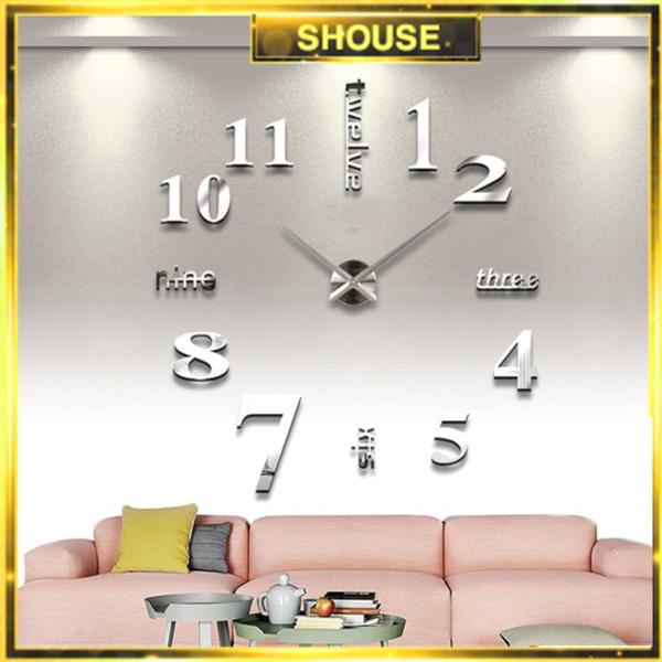 Đồng hồ treo tường loại dán tường 3D cỡ lớn chính hãng Shouse, kích thước 70cm-130cm bán chạy