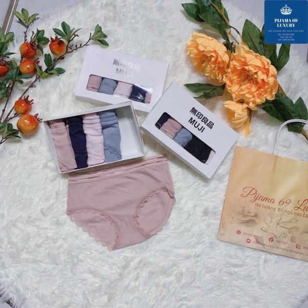Giá bán Đồ Lót Nữ- Quần Lót Nữ Cotton Gân Tăm Cạp Lưới Phối Viền Ren Điệu Đà 69 Luxury
