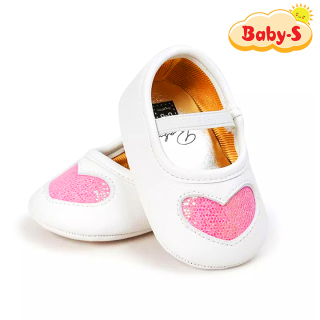 Giày tập đi cho bé gái từ 0 18 tháng tuổi chất vải mềm mịn êm chân hỗ trợ tốt cho bé tập đi hoạ tiết trái tim nhũ xinh xắn Baby-S STD5 thumbnail