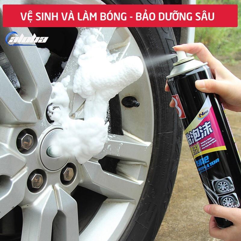 Chai xịt vệ sinh lốp xe,dung dịch tạo bọt làm sạch,bảo dưỡng mâm, vành bánh ô tô, xe hơi dưỡng đen bóng và chăm sóc bảo vệ lốp dung tích 680ml-B1107