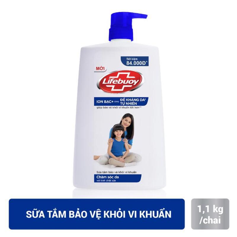 Sữa tắm sạch khuẩn Lifebuoy Chăm Sóc Da Chai 1.1KG tinh chất sữa dịu nhẹ cho làn da giúp dưỡng ẩm phù hợp với làn da nhạy cảm kể cả da em bé