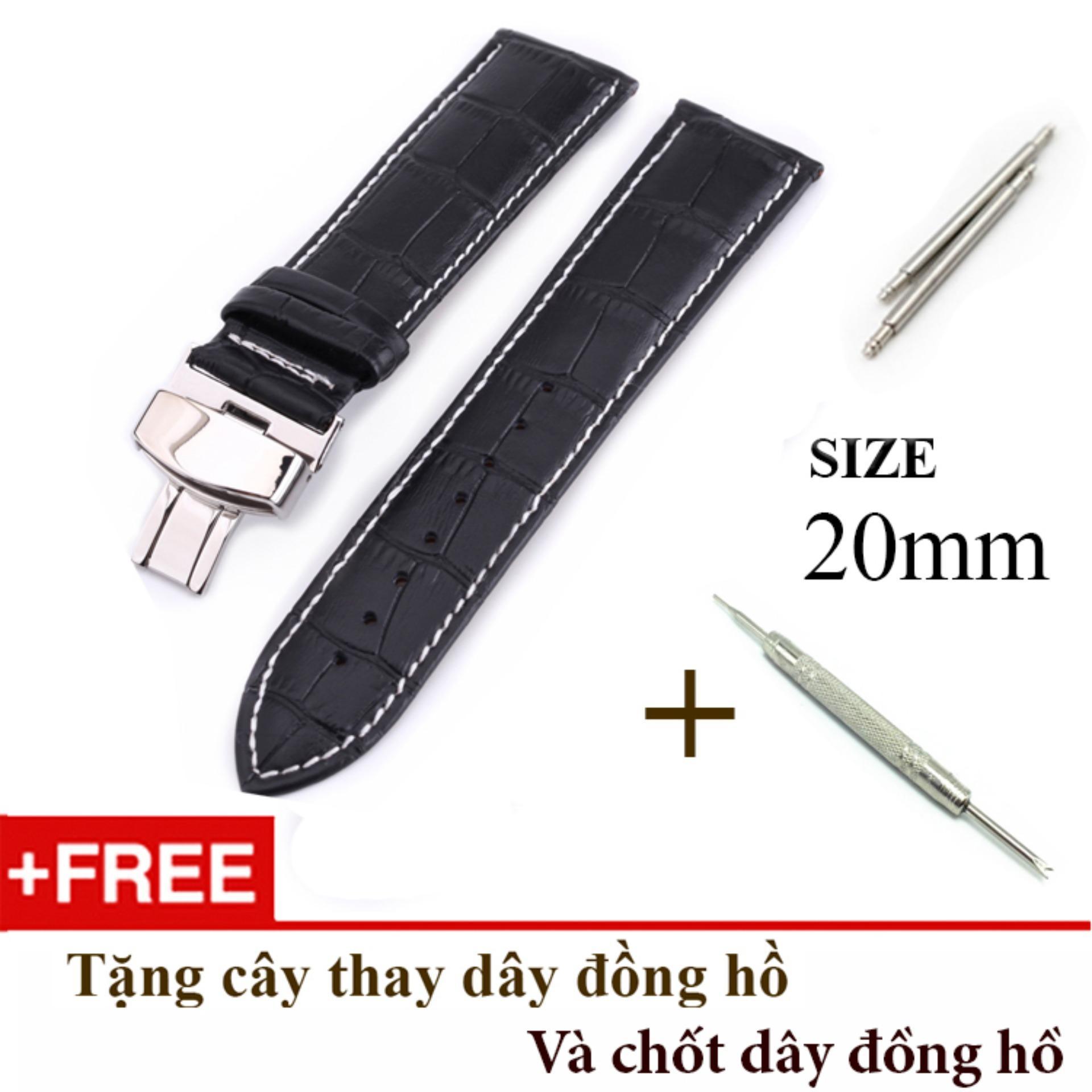 Dây đồng hồ da bò xịn SIZE 20mm, khóa bướm thép 316 (đen-B10) bán chạy