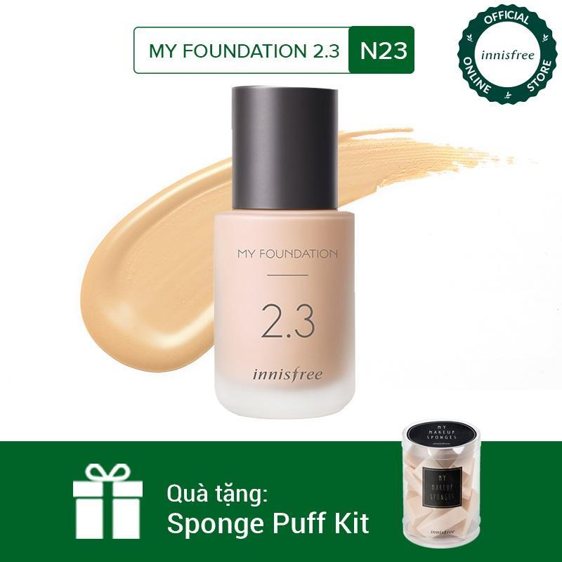Kem nền trang điểm Innisfree My Foundation 2.3 N23 30ml + Tặng 1 Bộ mút trang điểm Innisfree Sponge Puff Kit nhập khẩu