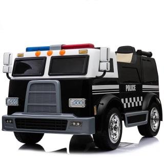 Ô tô xe điện đồ chơi cứu hỏa LL-911 cho bé mô hình xe 2 chỗ kèm bộ đàm còi hú (Đỏ-Đen) thumbnail