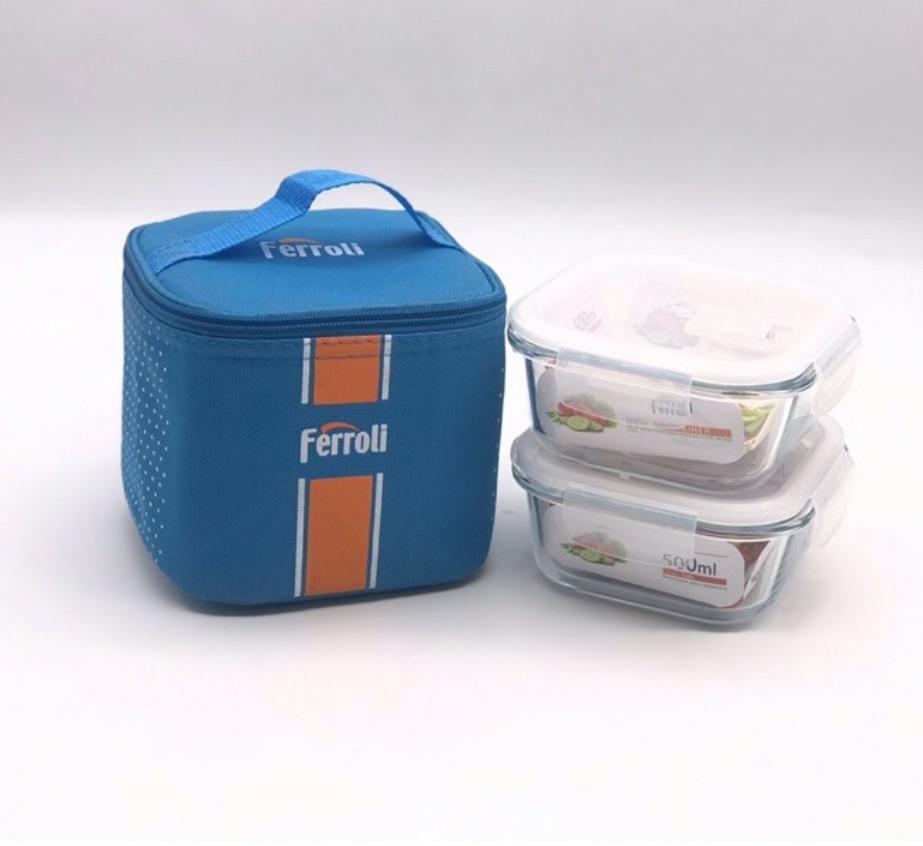 Bộ 3 Hộp thủy tinh Ferroli, chịu nhiệt, kèm túi giữ nhiệt - Hộp Đựng Cơm Thủy Tinh- Túi Giữ Nhiệt