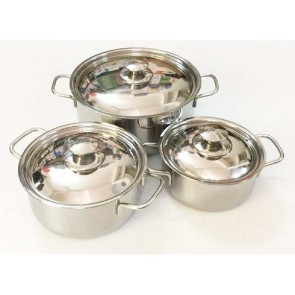 Bộ 3 nồi Sharp nắp inox chống rỉ cao cấp tiện dụng dùng được cho bếp từ